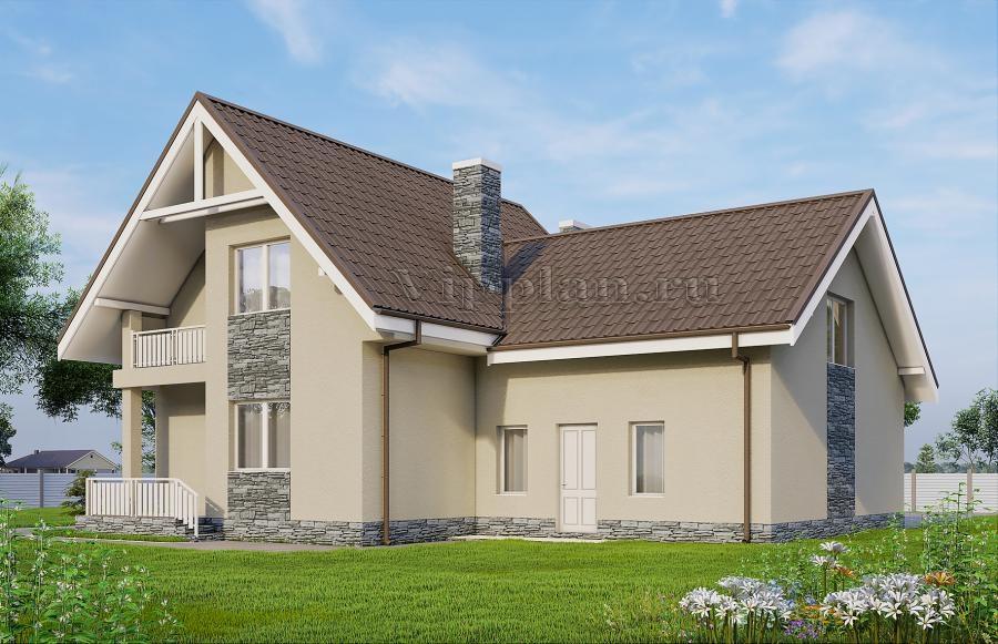 Дом с мансардой, гаражом, террасой и балконом vg1005.