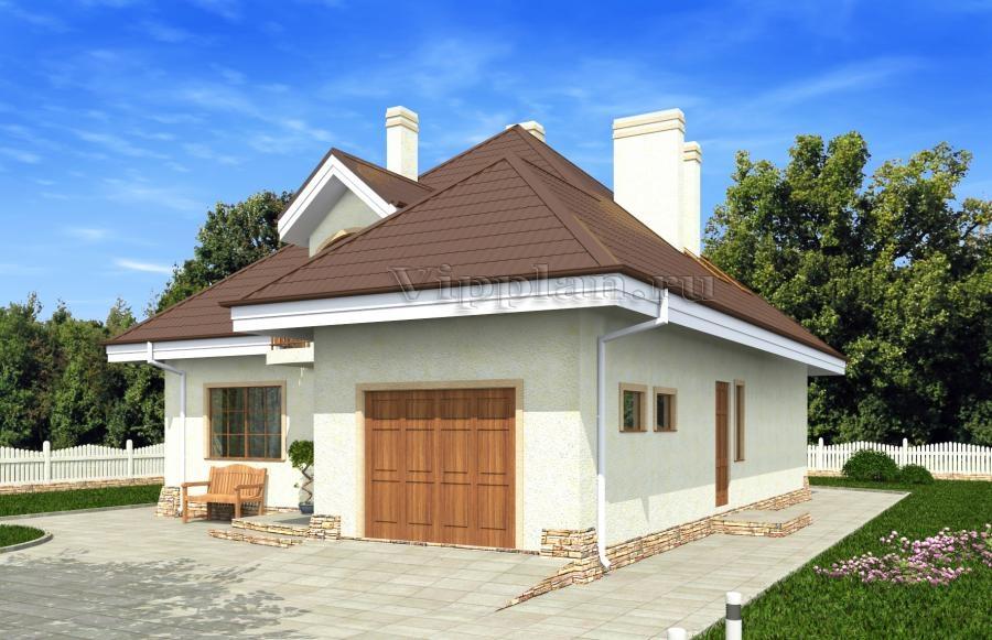 Дом с мансардой, гаражом, эркером, террасой и балконами vg11.