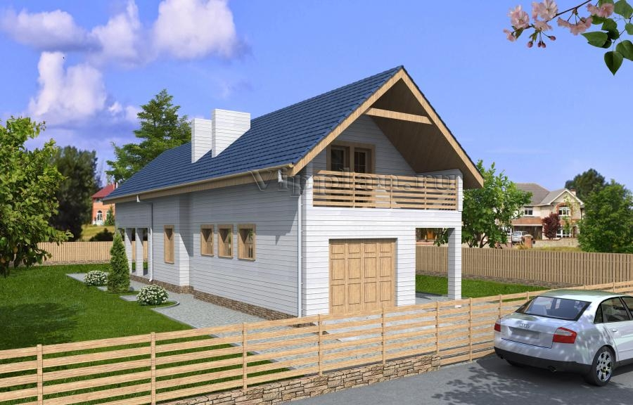 Проект дома с мансардой и гаражом для узкого участка vg1311.