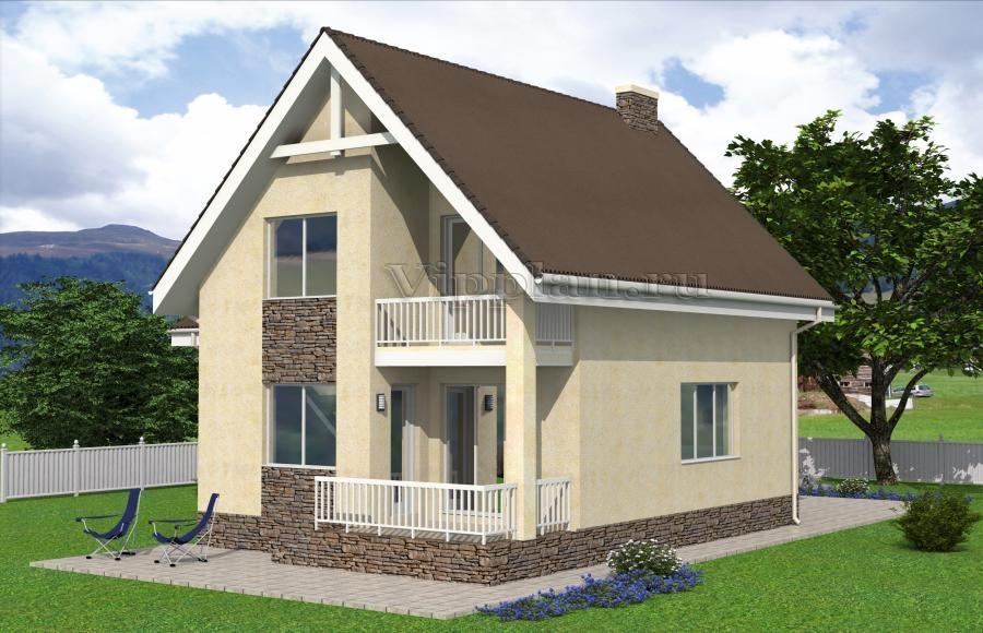 Дом с мансардой, гаражом, террасой и балконом vg2209.