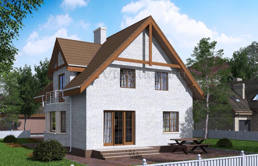 Дом с мансардой и балконами rg5121.