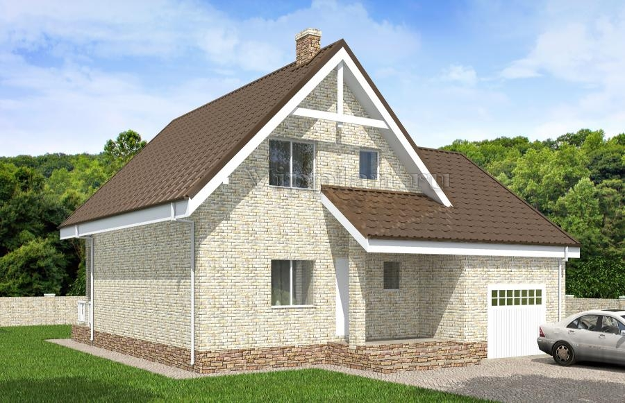Одноэтажный дом с мансардой, гаражом, террасой и балконом vg.