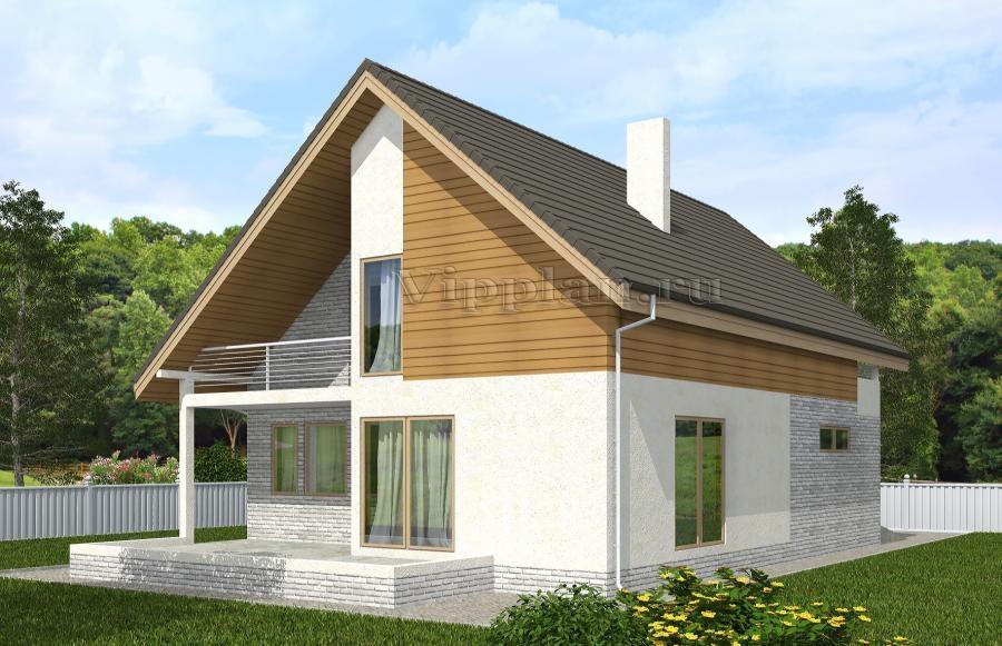 Одноэтажный дом с мансардой, гаражом, террасой и балконами v.