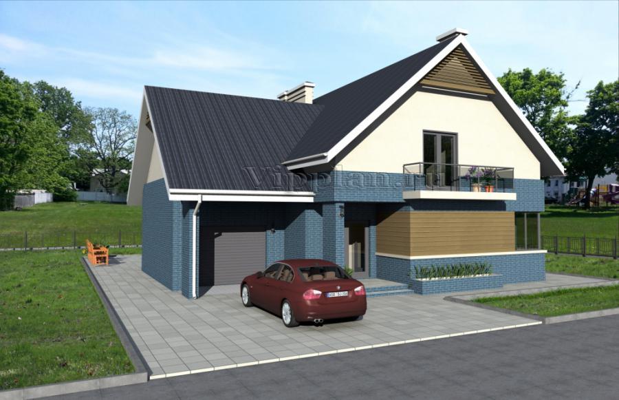 Дом с мансардой, гаражом, террасой и балконами vg987.